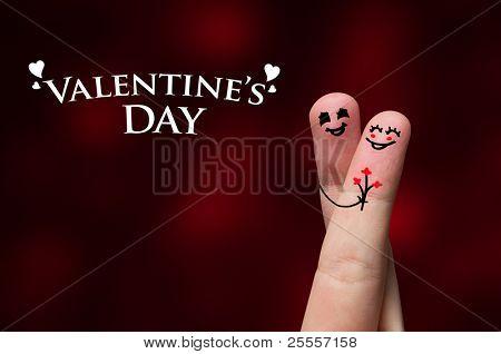 Happy finger hug on Valentines Day theme stock photo