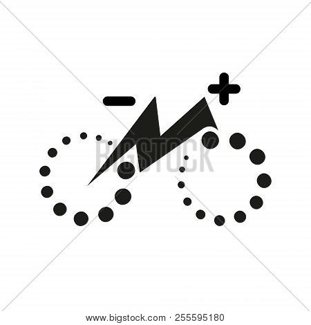 Isolated electric city bike symbol icon. Trekking e-bike line silhouette with electricity flash lighting thunderbolt sign. Designation of Parking Charge the battery. stock photo