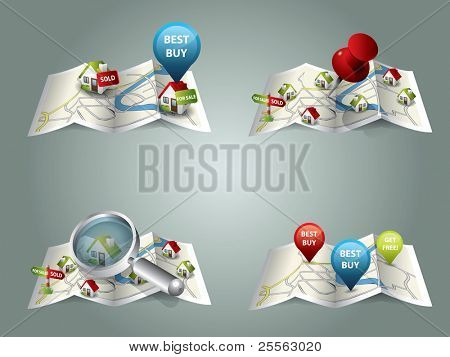 Real estate maps stock photo