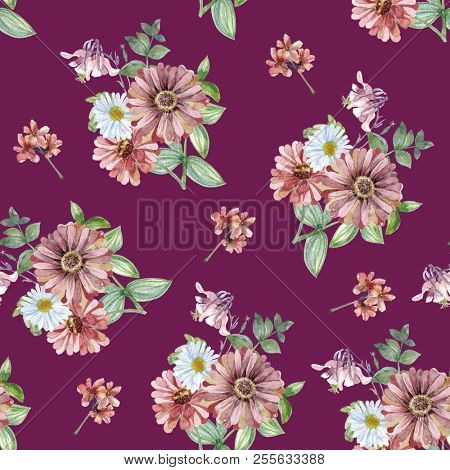 Watercolor art with forest flowers. Seamless pattern with red gerbera, white chamomile. Purple background wallpaper. Autumn, summer and spring seasons. Wash drawing illustration. stock photo