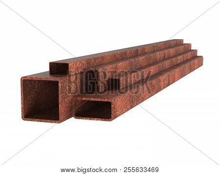 Rusty steel rectangular pipe. Utilization of waste from rolled metal. 3d illustration stock photo