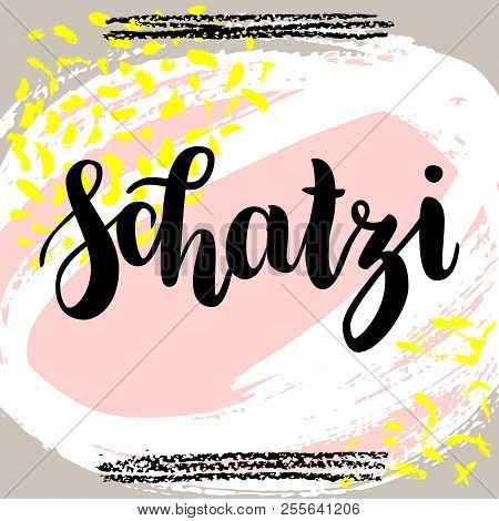 schatzi - sweetheart in German. Happy Valentines day card, Hand-written lettering on colorful abstract background.  illustration stock photo