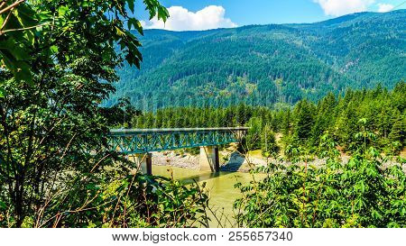 The Cog Harrington Bridge between the towns of Boston Bar and North Bend in the Fraser canyon in British Columbia, Canada stock photo