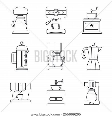 Coffee maker pot espresso cafe icons set. Outline illustration of 9 coffee maker pot espresso cafe icons for web stock photo