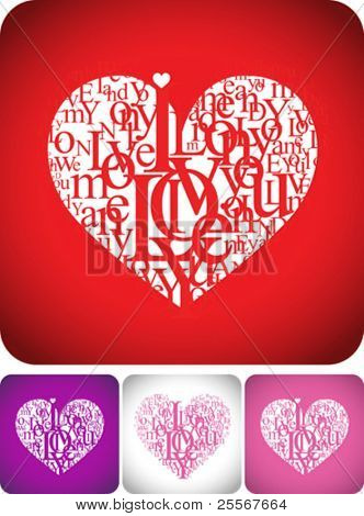 Love greeting card for valentine day or wedding card design -  typeface composition on red, white, pink and violet backgrounds stock photo