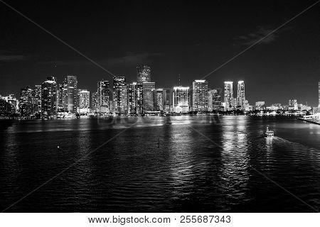 Miami, Florida, USA skyline on Biscayne Bay. glowing view of Miami downtown. miami skyline stock photo