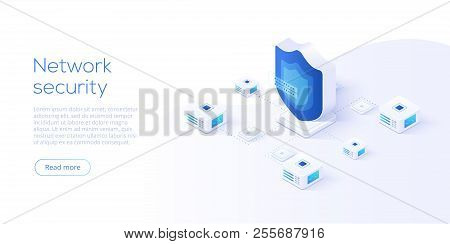Network data security isometric vector illustration. Online server protection system concept with datacenter or blockchain. stock photo