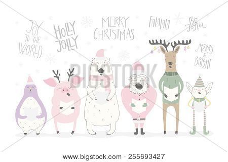 Hand drawn vector illustration of a cute funny singing Santa, elf, animals, with different Christmas quotes. Isolated objects on white background. Flat style design. Concept Christmas card, invite. stock photo