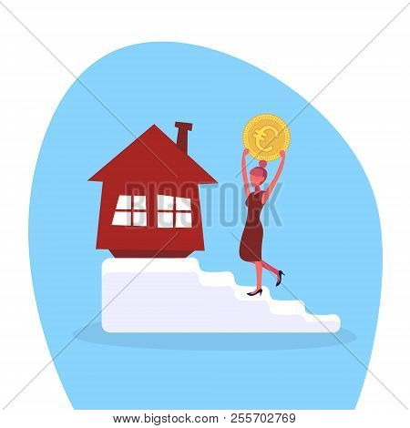 businesswoman climbing stairs investing money euro coin house buying concept woman motivation goal realty investment flat stock photo