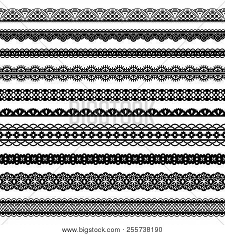 Collection of horizontal laces, black seamless borders for design. Dark laced silhouette isolated on white. Vector decorative stripes stylized tapes stock photo