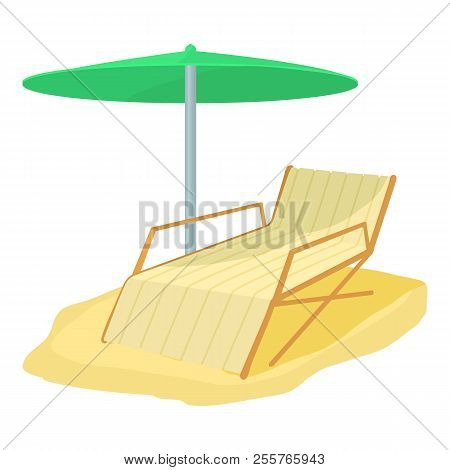 Deck chair icon. Cartoon illustration of deck chair icon for web stock photo