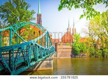 old town of Wroclaw - bridge to island Tumski, Poland, retro toned stock photo