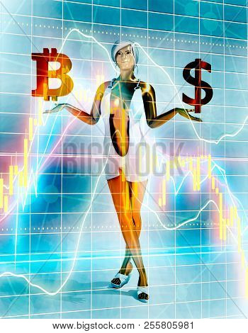 Young lady holding a symbols of currency. Bitcoin and Dollar money sign. 3D rendering. Short elegant dress. Financial market chart on backdrop stock photo