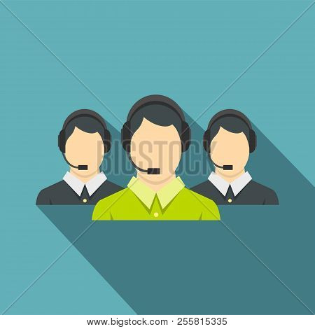 Three support phone operators icon. Flat illustration of three support phone operators icon for web isolated on baby blue background stock photo