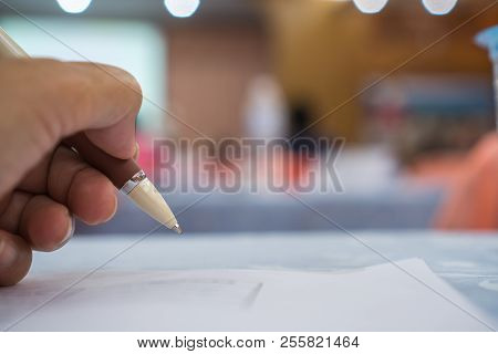 Business man Manager checking and signing applicant filling documents reports papers company application form or registering claim in meeting room office. Document Report business Concept stock photo
