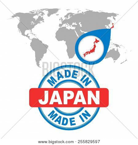 Made in Japan stamp. World map with red country. Vector emblem i . Business abstract pictogram. stock photo