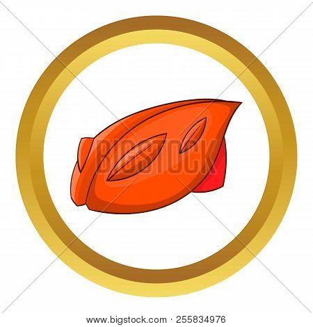 Bike helmet icon in golden circle, cartoon style isolated on white background stock photo