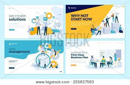 Set Of Web Page Design Templates For Business Solutions, Startup, Time Management, Planning And Stra