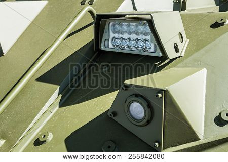 headlights and Parking lights of a truck, auto, armored car stock photo