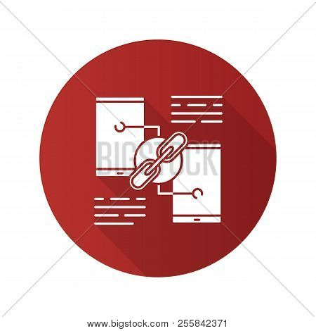 Link sharing flat design long shadow glyph icon. Hyperlink. Data transfer. Phones connection. Vector silhouette illustration stock photo