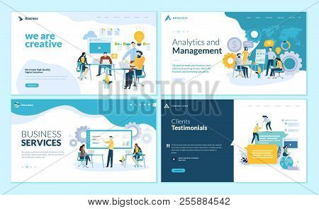 Set of web page design templates for creative and innovative solutions, business services, management and analytics, testimonials. Modern vector illustration concepts for website and mobile website development. stock photo