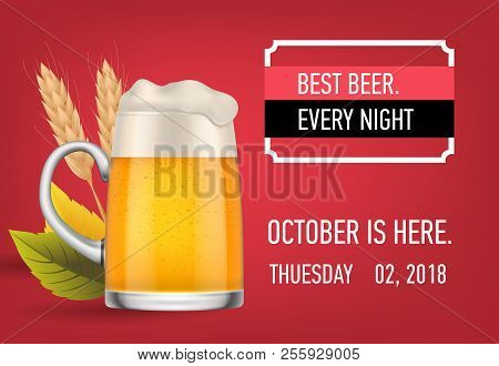 Best beer every night banner design with lager beer, wheat ears and fall leaves on magenta background. Template can be used for bar signs, posters, party announcements stock photo
