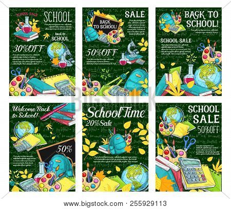 Back To School Sale Posters For Education Season Stationery On Green Chalkboard Background. Vector S