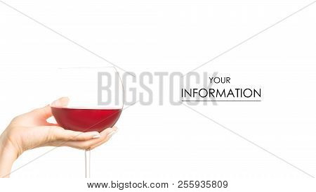 Female hand holding a glass of red wine on a white background isolation stock photo