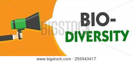 Handwriting text Bio Diversity. Concept meaning Variety of Life Organisms Marine Fauna Ecosystem Habitat Man holding megaphone loudspeaker speech bubble message speaking loud. stock photo