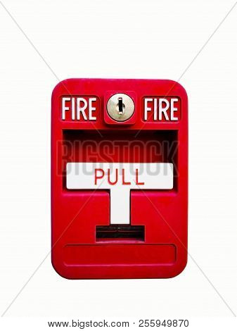 Red fire alarm box for warning and security system. Pull danger fire safety box. Break red alarm equipment detector safe detector. Isolated on white background, copy space and clipping path. stock photo