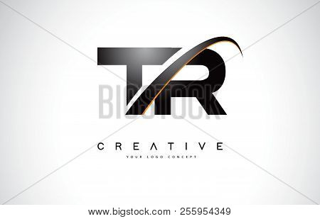 TR T R Swoosh Letter Logo Design with Modern Yellow Swoosh Curved Lines Vector Illustration. stock photo