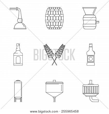Beer distillation icons set. Outline set of 9 beer distillation icons for web isolated on white background stock photo