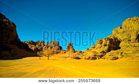 Abstract Rock formation at Tamezguida in Algeria stock photo