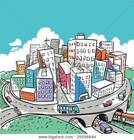 Illustration de ville funky doodle