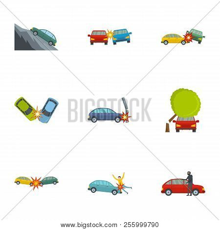 Car accident icons set. Cartoon set of 9 car accident icons for web isolated on white background stock photo