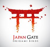 Japan origami door Torii molded from flying winged animals