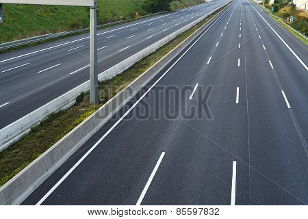 empty eight-lane highway due to road and bridge works ** Note: Soft Focus at 100%, best at smaller sizes stock photo