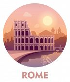 Vector symbol speaking to Rome as a travel destination