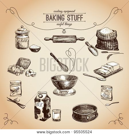 Vector hand drawn bakery set. Vintage Illustration