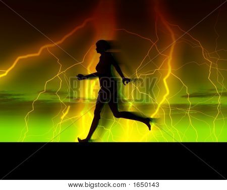 An image of a bare footed women running with some thunder and lightning in the background. stock photo