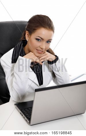 Young business woman with computer. Business concept. stock photo