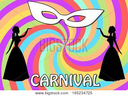 Carnival background with two black lady silhouettes and white face mask on swirly garish area. Vintage old-fashioned figures. Vector eps10. stock photo