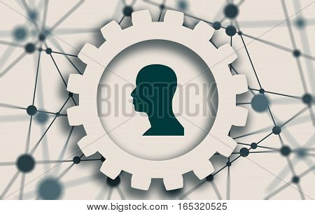Silhouette of a man's head in gear. Mental health relative brochure, report or flyer design template. Scientific medical designs. Shallow depth of field stock photo