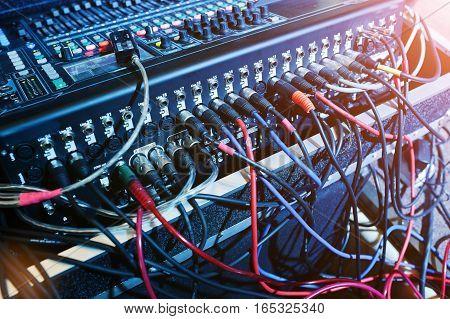 Digital mixing console. Sound mixer control panel closeup of audio faders. stock photo
