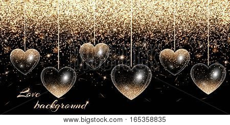 Valentines Day background with hearts and gold glitter stock photo