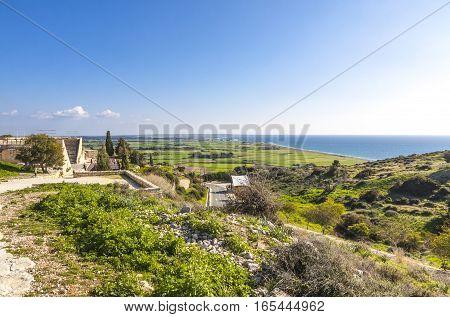 Mediterranean seacoast near Pissouri village Limassol district Cyprus stock photo