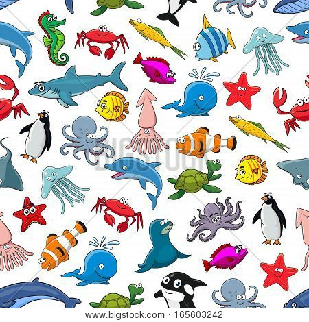 Sea fish, ocean animals and shellfish cartoon seamless pattern of vector clown fish and butterflyfish, starfish and jellyfish, dolphin, shark and whale, seahorse and octopus, stingray and penguin, lobster crab and squid, turtle, tropical fishes stock photo