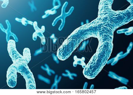 X-chromosomes as a concept for human biology medical symbol gene therapy or microbiology genetics research, 3d rendering