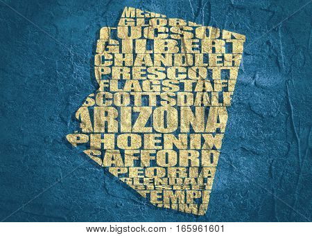 Word cloud map of Arizona state. Cities list collage. Grunge texture stock photo