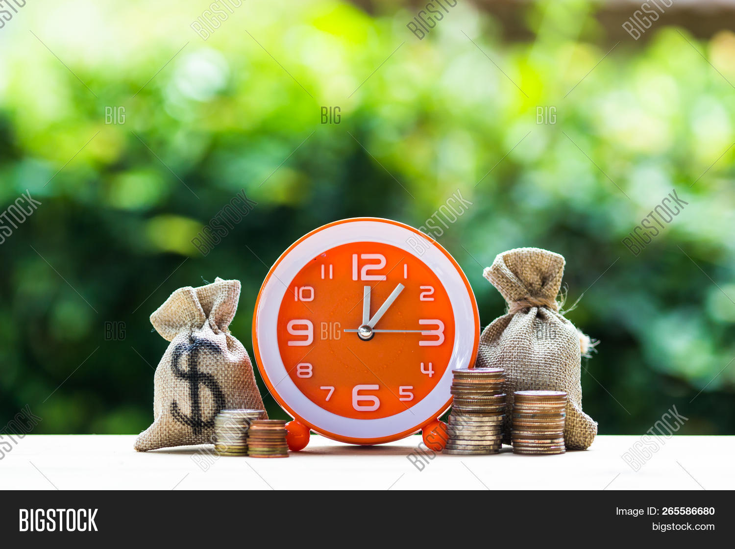 Money Savings, Investment, Growing Concept : Stacking Growing Coins, Money Bags And Orange Clock On